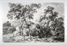 [Landscape with shepherd and sheep resting]