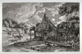 [Night scene with a house in the foreground]