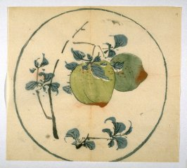 Two Peaches on Branch, No.14 from the Volume on Round Fans - from: The Treatise on Calligraphy and Painting of the Ten Bamboo Studio