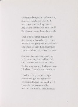Text page 7 in the book The Road Not Taken by Robert Frost (Amsterdam and New York: De Appel Foundation, 2000)