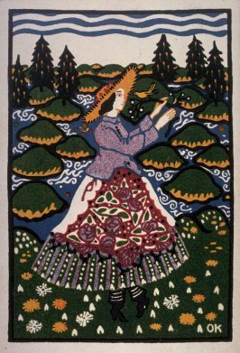 Biedermeier Woman in a Meadow from the Wiener Werkstatte