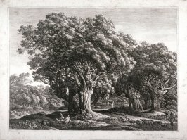 Landscape with trees, two reclining shepherds and shepherd driving flock of sheep