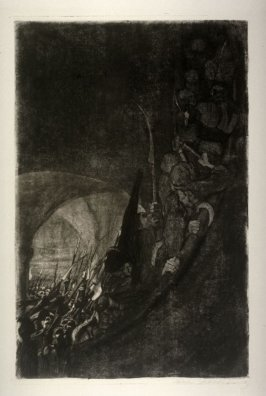 Bewaffnung in einem Gewölbe (Armament in a Vault), fourth plate in the series Bauernkrieg (Peasants Wars)