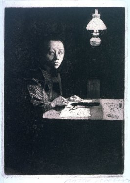 Selbstibildnis am Tisch, II. Fassung (Self-Portrait at the Table, Second Version)