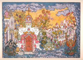 The Invisible City of Kitezh: stage design for Act IV, Scene II