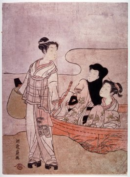 Lovers in Boat and Wandering Priest( Komuso)