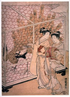 Two Women Strolling Past a Caged Peacock