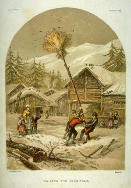 Leisure Hour, Jan. 1, 1869: Raising the Bird-Pole