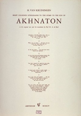 Title page to Eight Coloured Lithographs To The Hymn To The Sun Of Akhnaton