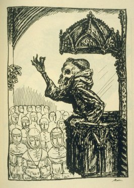 [Der Prediger], fourteenth plate in the book Ein Totentanz (Berlin: Bruno Cassirer, 1918)