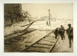 Railroad Tracks at Waoreghem - #9 in the portfolio Pages of Glory and History, the 91st Division in Argonne and Flanders (Paris, New York, San Francisco: City of Paris, 1920)