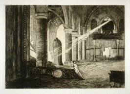 Interior of Ruined Church at Bevere, Belgium - #21 in the portfolio Pages of Glory and History, the 91st Division in Argonne and Flanders (Paris, New York, San Francisco: City of Paris, 1920)