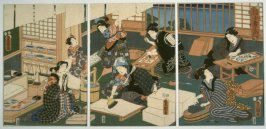Artisans (a group of women in a workshop producing woodblock prints), from the series A Parody of the Four Social Classes