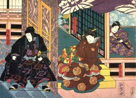 Actors as Ichiwaka , Hanagaku, and Asari Yoichi from an untitled series of half-block scenes from kabuki plays
