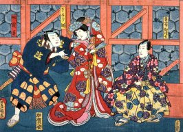 Actors as Seigen, Sakurahime, the Yakko Yodohei from an untitled series of half-block scenes from kabuki plays