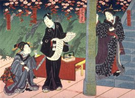Flower Viewing (Hanami) Actors as Hashimotoya, Shirakage, Suzuki Jusui (?) and Hashimotoya Outa from an untitled series of half-block scenes from kabuki plays