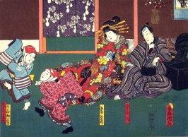 Actors as Gonroku, the Courtesan Iwazaki, and the Manzai Dancers Wasakichi and Wakadaya from an untitled series of half-block scenes from kabuki plays