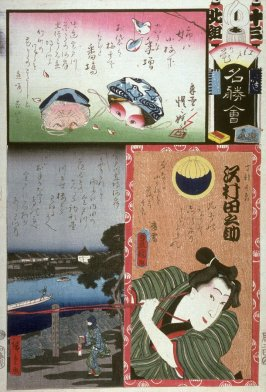 Sawamura Tanosuke as the Apprentice Chokichi, Masks, Miyato River in Group North. No. 13. Bamba from the series The Flowers of Edo Matched with Famous Places (Edo no hana meisho awase), from a collaborative harimaze series, diptych with 1963.30.5452 (A002