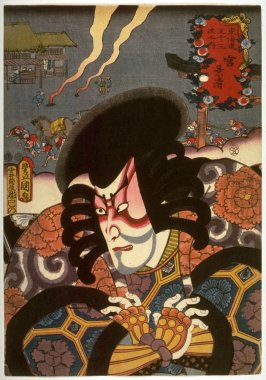 Ichikawa Danjuro VIII as Kagekiyo at Miya, Station no. 42 on the Tokaido from the series  Fifty-three Stations of the Tokaido (Tokaido gojusantsugi no uchi)
