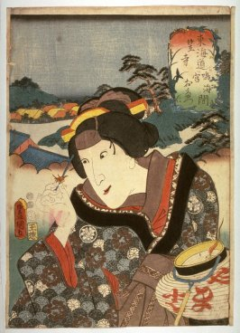 KIwai Tojaku (Hanshiro V) as Otatsu at Kasadera, between Narumi and Miya in the series Spots between Stations on the Tokaido (Tokaido no aida)