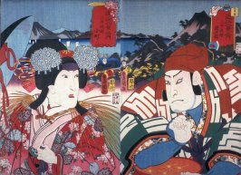 Actors as Sekihei and Komachi at Evening Bell at Mii Temple (Mii bansho) from the series Eight Views of Lake Biwa (Omi hakkei no uchi)