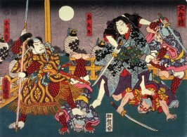 Actors as Asa no Kano and Kobungo in a scene from a play (title unread) from an untitled series of half-block scenes from kabuki plays