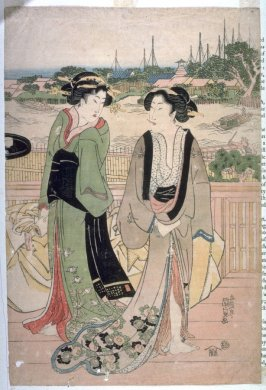 Two geisha on a bridge