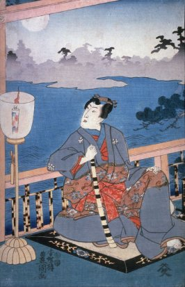 Genji seated on a veranda in moonlight