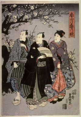 The First Plum Blossoms in the Spring Sky (Shunsho ume no sakigake), right panel of a triptych of actors standing by a plum tree at night