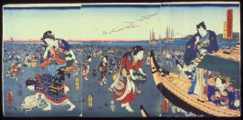 Third Month: Prince Genji Watching Townspeople Gather Shells at Low Tide (Yayoi), from the series The Twelve Months (Junigatsu no uchi)