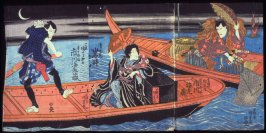 The Actors Ichikawa Ebizo V and Iwai Hanshiro V as Yoshida no Matsuwakamaru, the Nun Seigen, and a Boatman