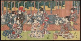 View of Kusatsu Hot Springs in Kozuke Province, a triptych : Geisha by a Bathing Pool (Joshu Kusatsu onsen kando, sammai tsuruki)