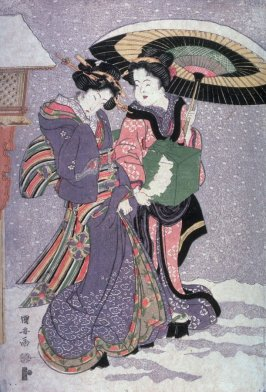 Geisha and attendant walking in snow