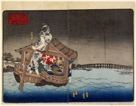 Pleasure Boat and Fireworks on the Sumida River, from the shunga book The Pillowed Boudoir