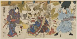 Onoe Kikugoro II as the Cat-Witch of Okabe, Ichimura Uzaemon XII as Inaba No Suke and Mimasu Gennosuke as Shirasuka Juemon from the play Gojusan Tsugi