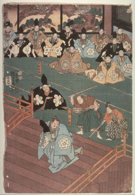 Left panel of a triptych (theater scene)