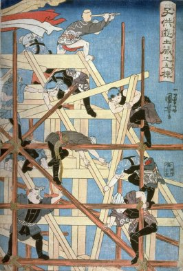 Children's Games: Raising the Roof of a Storehouse ( Kodomo asobi dozo no muneage), right panel of a triptych