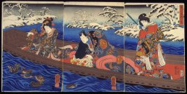 Water: the Drifting Boat--Genji and Two Companions Watching Ducks in Snowy River (Mizu: Ukifume), from the series The Five Elements (Mitate gogyo)