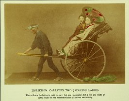 Jinrikisha Carrying Two Japanese Ladies