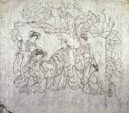 Untitled (Morning Glories, Three Women and Child Attending Costumed Youth... ) seventh of a group of thirteen proofs from the key blocks of fan prints combining genre and floral studies