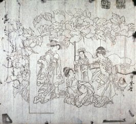 Untitled (Peonies, three women and child), first of a group of thirteen proofs from the key blocks of fan prints combining genre and floral studies