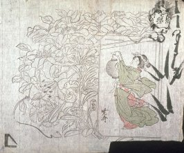 Untitled (Lilies, Pinks, Clematis, Young Woman with Lantern, Sketch of Face and Bamboo) fifth of a group of thirteen proofs from the key blocks of fan prints combining genre and floral studies