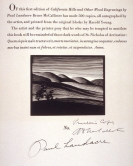 untitled vignette on colophon leaf of the book, California Hills… (Los Angeles: Bruce McCallister, 1931)
