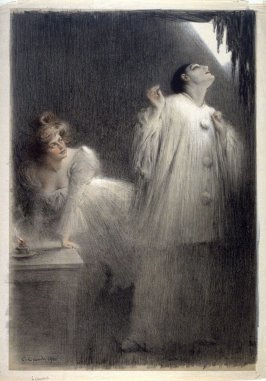 """[Theatre scene ( """"Pierrot"""" and a woman)]"""