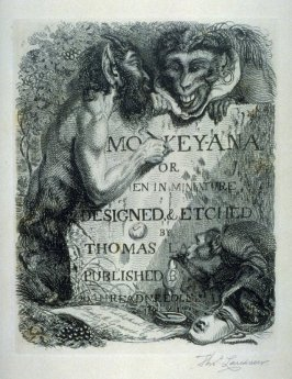 Title Page for the series of 25 etchings 'Monkeyana or Men in Miniature'