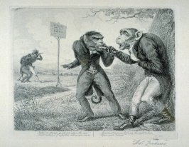The Crisis or Point of Honour, from the series 'Monkeyana or Men in Miniature'