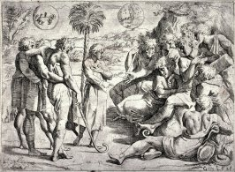 Joseph Relating His Dream to His Brothers, from the series of etchings Biblical Scenes, after the frescoes by Raphael in the Vatican Loggia