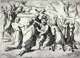The Golden Calf Adored by the Israelites, from the series of etchings Biblical Scenes, after the frescoes by Raphael in the Vatican Loggia