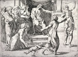 The Judgment of Solomon, from the series of etchings Biblical Scenes, after the frescoes by Raphael in the Vatican Loggia