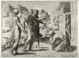 Abraham Welcoming the Three Angels, from the series of etchings Biblical Scenes, after the frescoes by Raphael in the Vatican Loggia